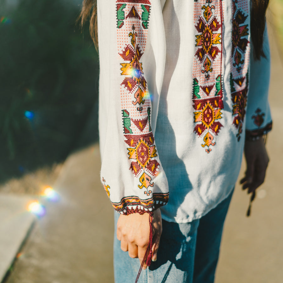 Vintage White Embroidered Long Sleeve Top