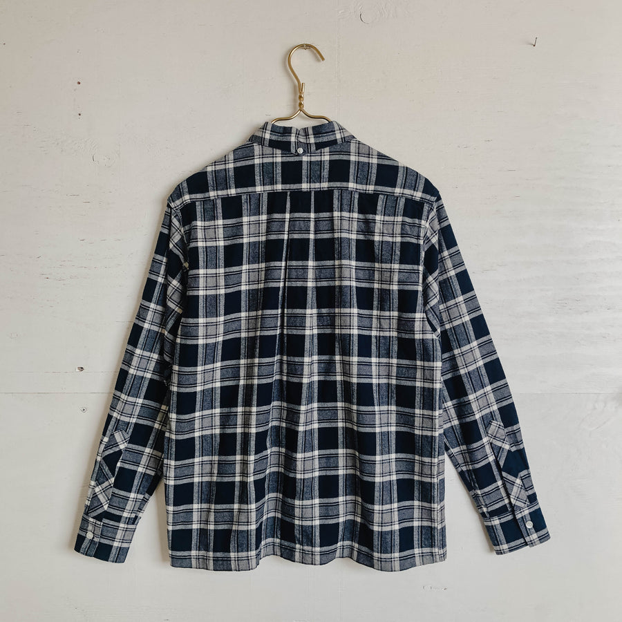 Yellow Rat Long Sleeve Collared Button Down Navy Gray Plaid