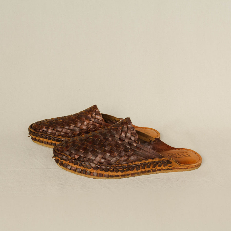 Mohinders Men's Woven Slippers Oiled Leather