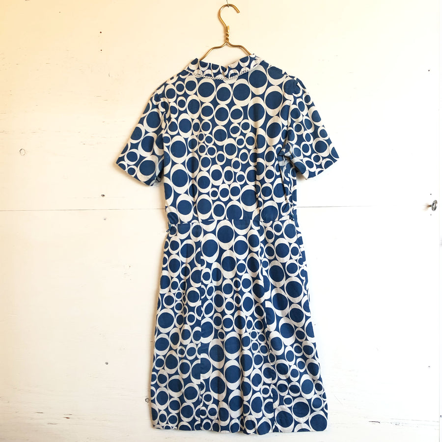 Blue and White Patterned Cotton Dress
