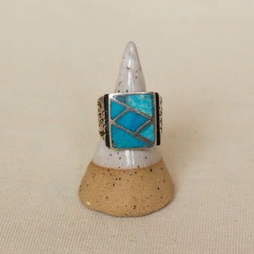 Vintage Turquoise and Sterling Silver Inlay Ring