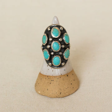 Vintage Turquoise and Sterling Silver Dome Ring