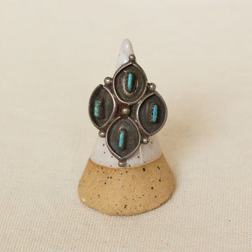 Vintage Zuni Sterling Silver 4 stone Turquoise Ring