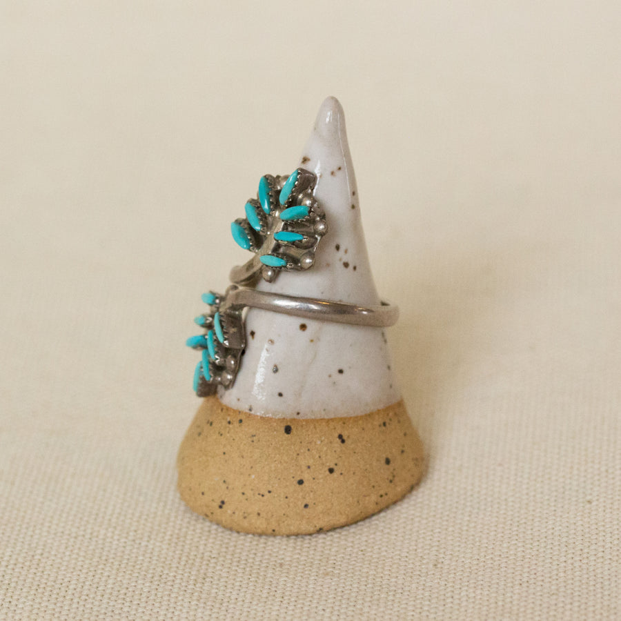 Vintage Zuni Needle Point Sterling Silver and Turquoise Ring