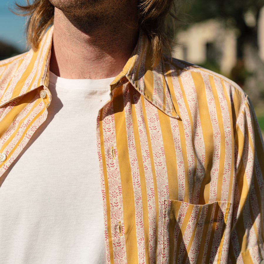 Yellow Stripe Short Sleeve Button Up