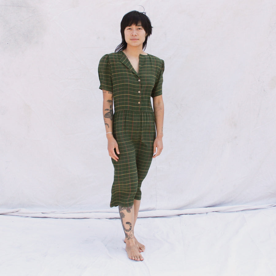 Dark Green Silk Dress