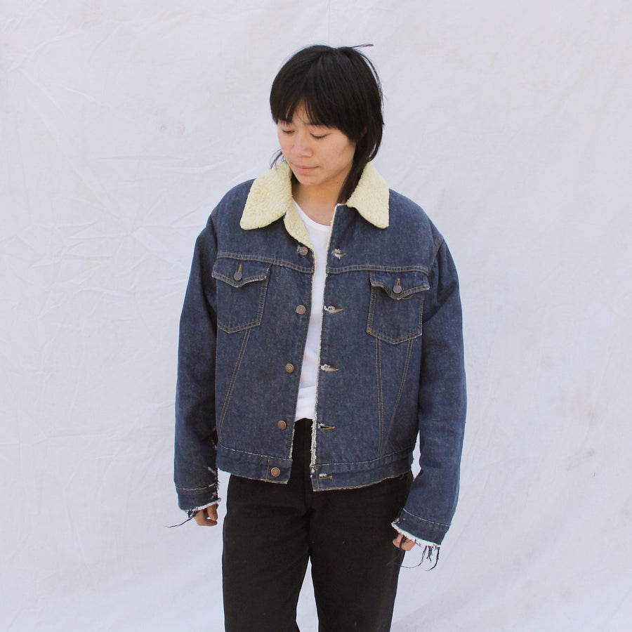 Cropped Denim Sherpa Jacket