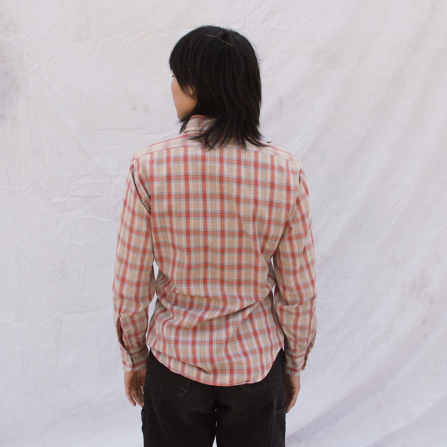 Ladies Plaid Long Sleeve Button Up