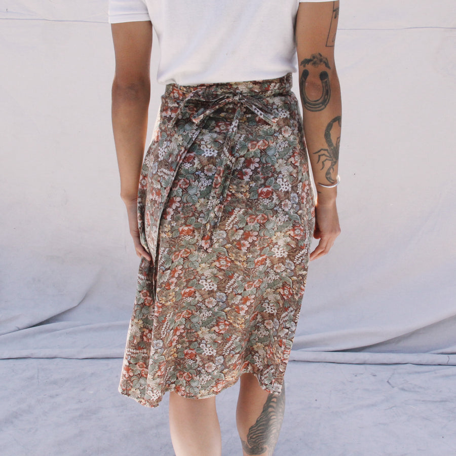 Vintage Brown Floral Wrap Skirt