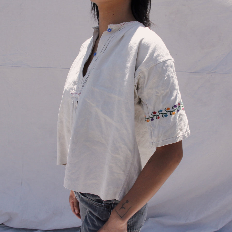 Natural Embroidered Short Sleeve Blouse