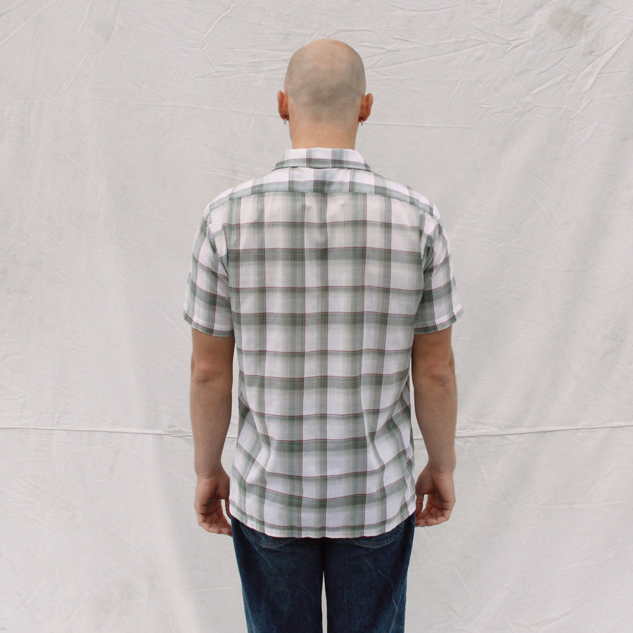Green and White Short Sleeve Button Up
