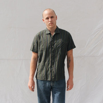 Dark Green Plaid Short Sleeve Button Up