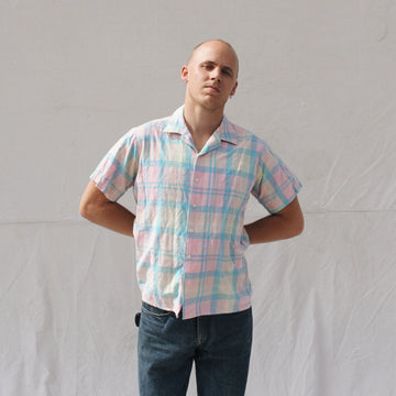 Pink Plaid Short Sleeve Button Up