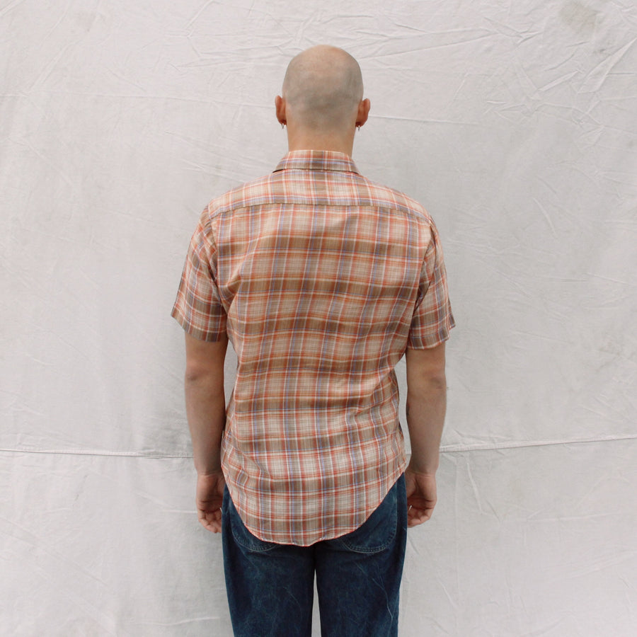 Short Sleeve Peach Plaid Button Up