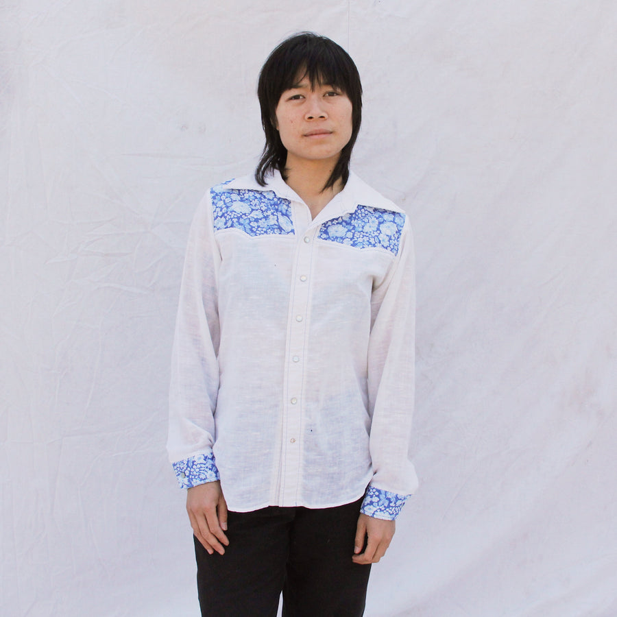 Blue Flower Button Up