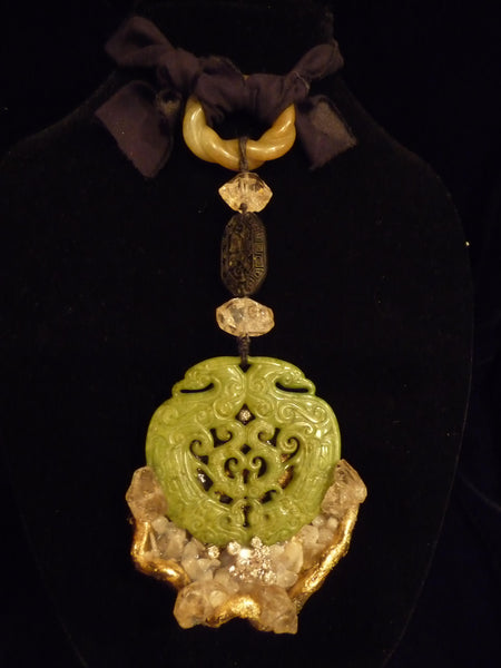Carved Jade Drop Necklace - PK Bijoux Couture