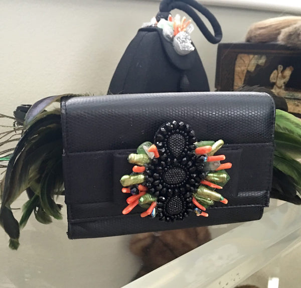 Evening Bag with Green and Black Feather Detail - PK Bijoux - 1