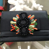 Evening Bag with Green and Black Feather Detail - PK Bijoux - 2