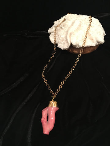 Bubblegum Pink Coral Pendant on Chain - PK Bijoux Couture