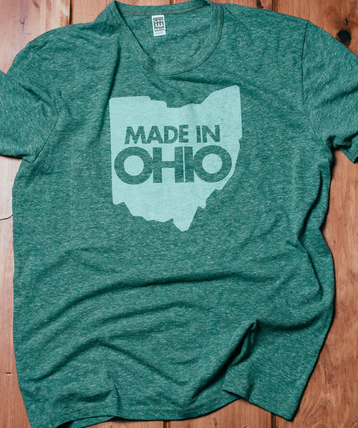 """Made In Ohio"" Green Tri-Blend Unisex"