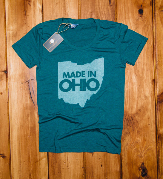 "Women's Cut ""Made In Ohio"" Green Shirt"