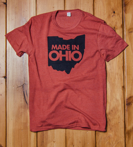 """Made In Ohio"" Red Tri-blend Unisex"