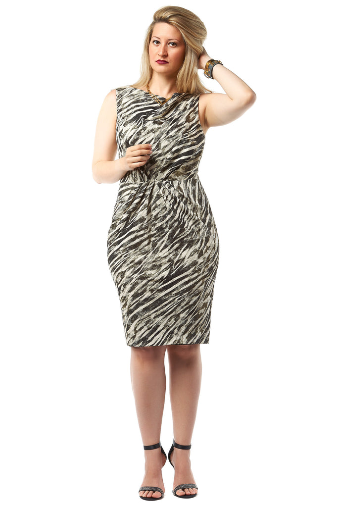 Badgley Mischika Black Ivory Zebra Print Metallic Dress - LoveBeautyRocks