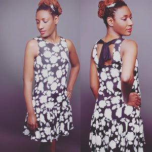 Black and white floral dress - LoveBeautyRocks