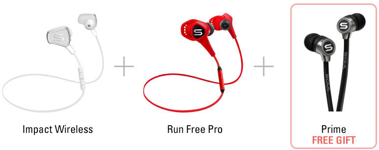 Bundle 2: Impact Wireless Fashion Lifestyle Earphone + Run Free Pro Bluetooth Sport Earphone + Prime In-Ear Earphone