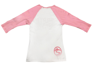 Women's Pink Ribbed 3/4 Baseball Tee
