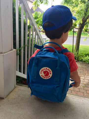 Our achon son with mini kanken backpack