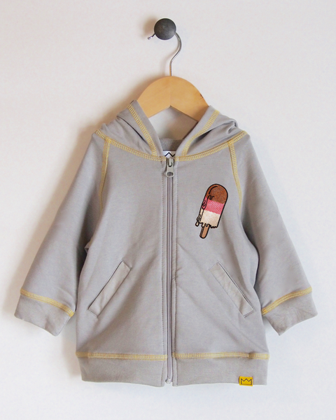 Hoodie in Grey/Yellow with Ice Pop
