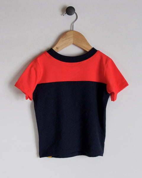 T-Shirt in Navy/Coral with Smiley