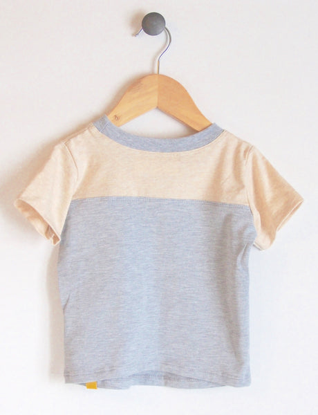 T-Shirt in Grey/Almond with Skateboard