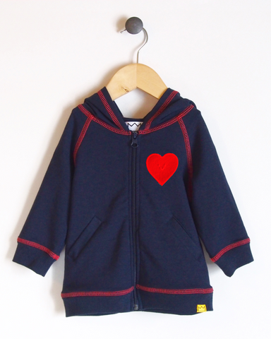 Hoodie in Navy/Coral with Heart