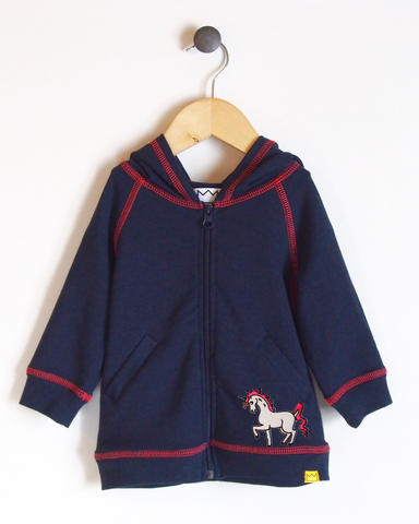 Hoodie in Navy/Coral with Unicorn