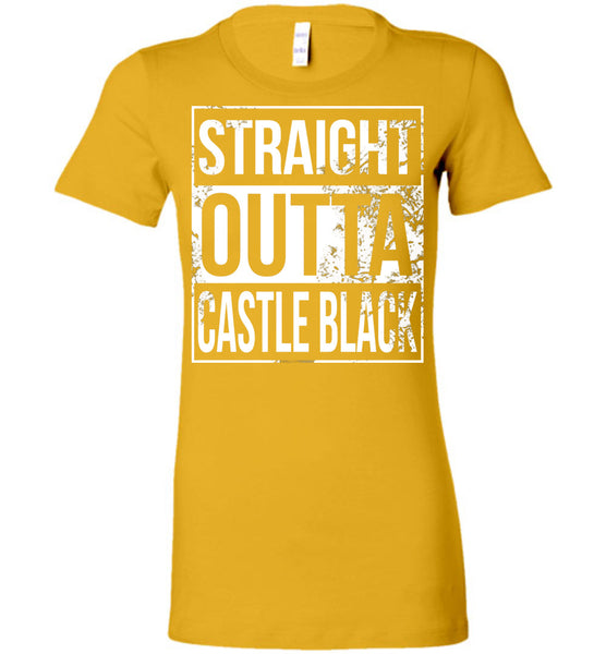 Straight Outta Castle Black - Ladies Fitted Tee