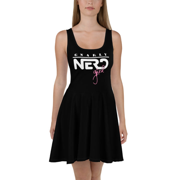 Gnarly Nerd Girl - Skater Dress (Black)