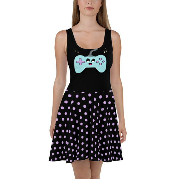 Cute Controller - Skater Dress (Black)