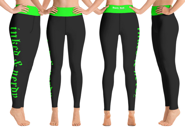 Inked & Nerdy Yoga Pants (Black/Green)