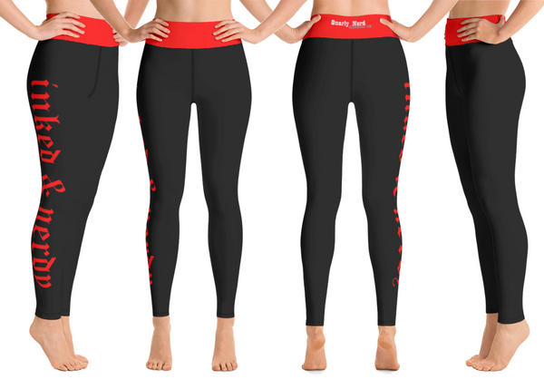 Inked & Nerdy Yoga Pants (Black/Red)