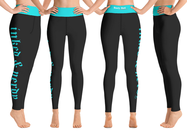 Inked & Nerdy Yoga Pants (Black/Teal)