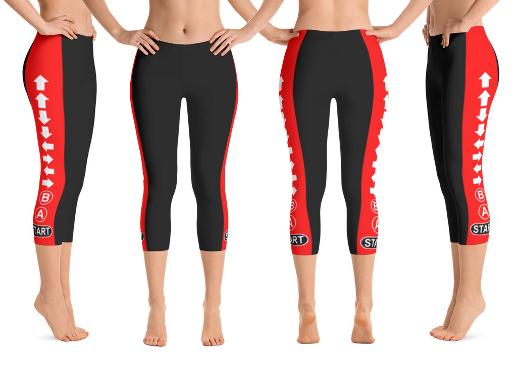 Konami Code (black/red) Capri Leggings