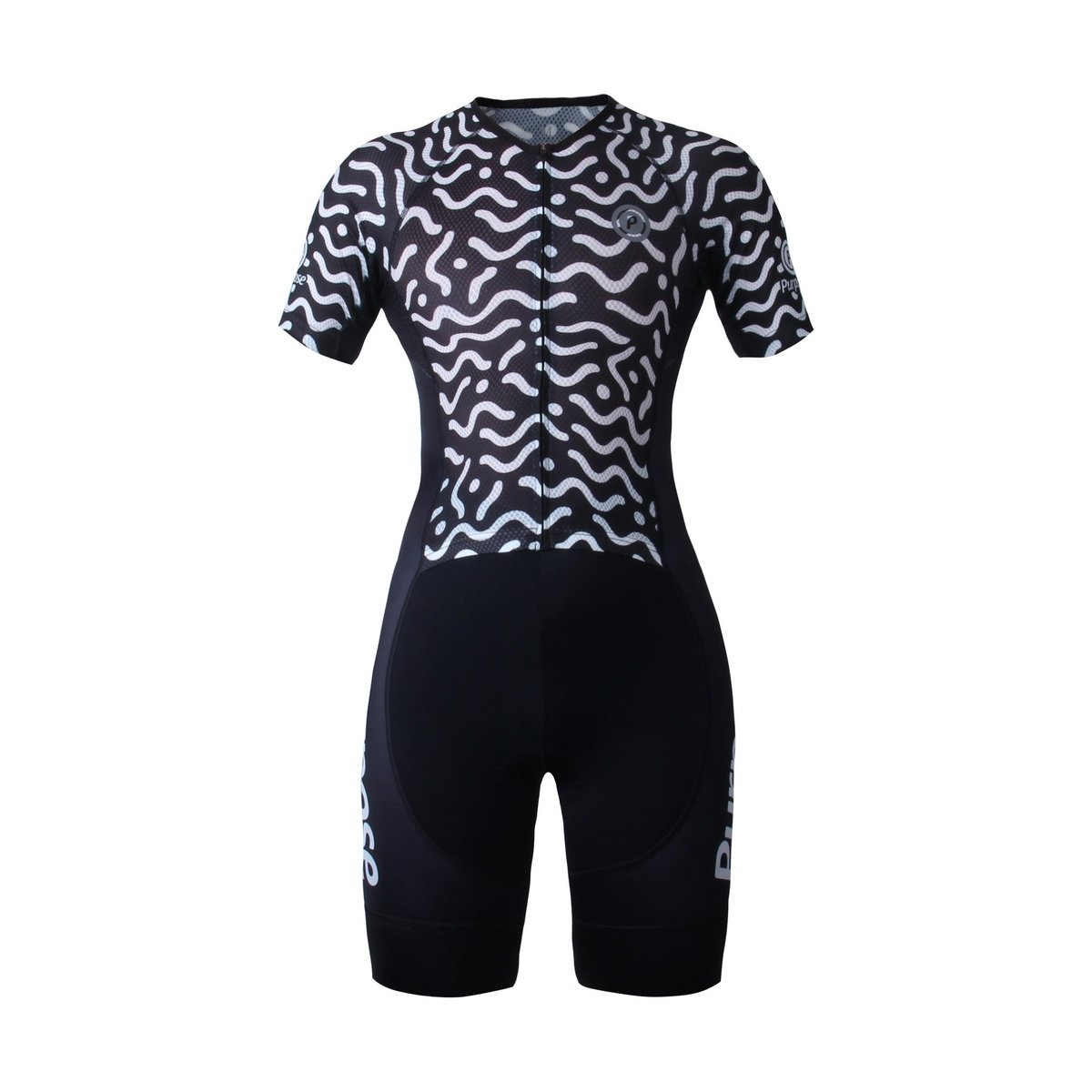 Purpose Flow Pro/Performance Women's Mesh Tri Suit (Waves Black and White, Sleeve)