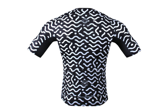 PRO SERIES  Ultra-Light Skinsuit Jersey (Black and White Waves)