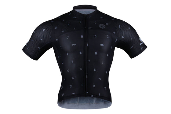 ELITE Racing Tri-Mesh Cycling Jersey (Black and White Letters)