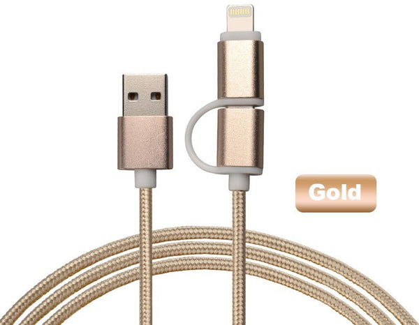 2 in 1 Nylon Braided USB Charging Cable