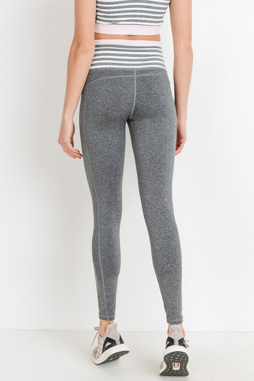 Heather Grey Stripe Leggings