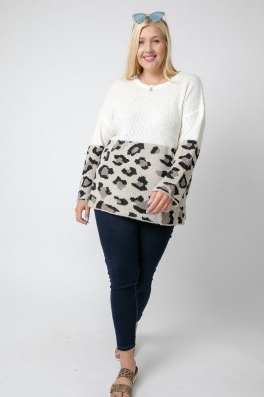 Color Block Leopard Sweater (Curvy)