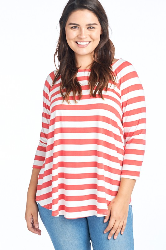 Curvy Go-To Stripe Top (2 kcolors)